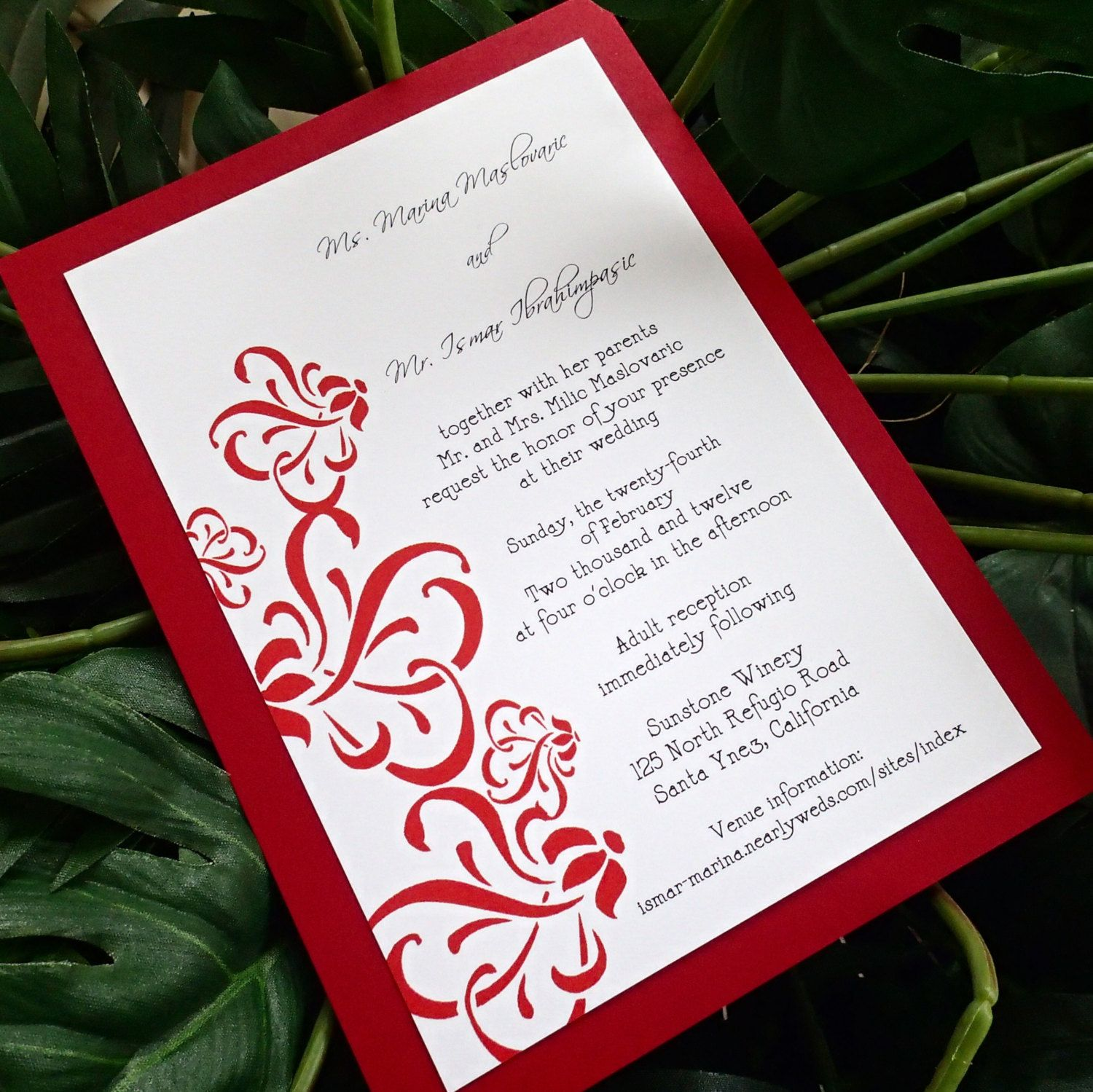 red and white wedding invitation modern wedding invitations flourish wedding invitation damask wedding invitation elegant invitation