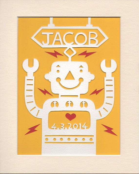 Kids Personalized Wall Art, Handcut Jolly Robot Papercut, Nursery ...
