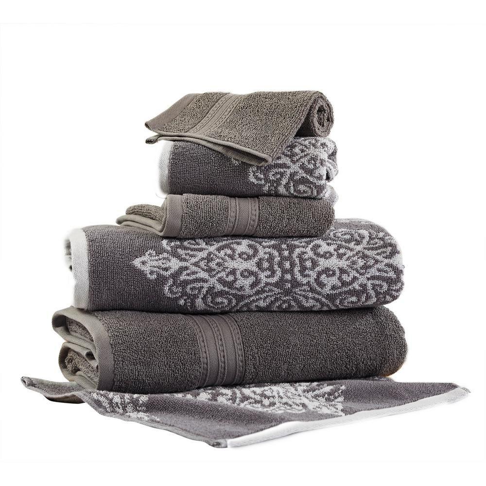 Allure Artesia 6 Piece Platinum Geometric Bath Towel Set White