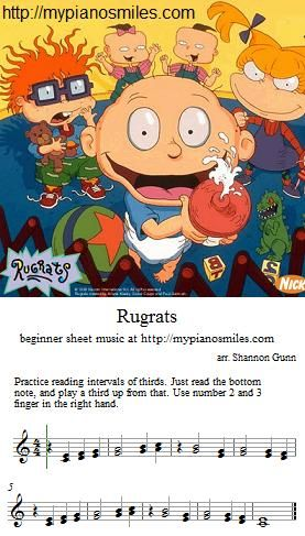 Rugrats Sheets Easy Sheet Music Piano Teaching Lessons