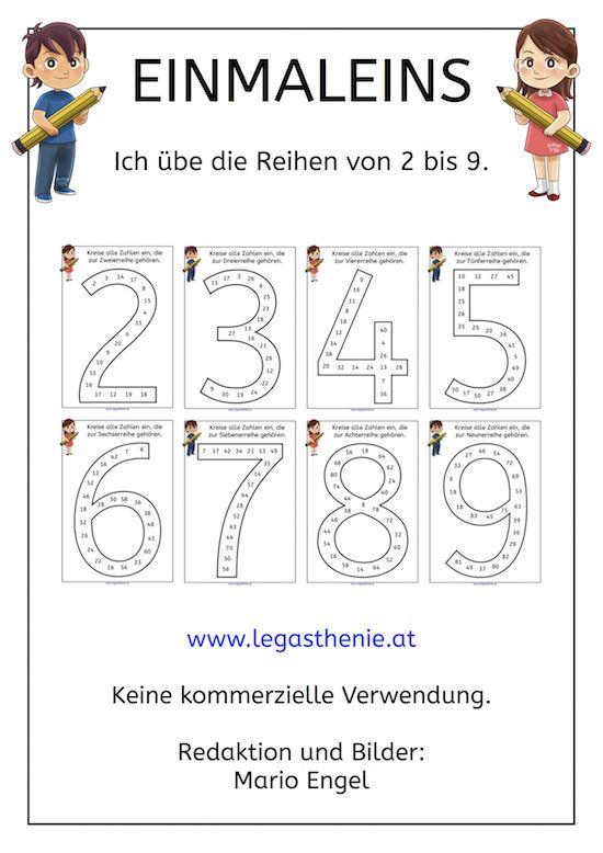 Einmaleins Ich kenne die Reihen von 2 bis 9 Bloghop Math, School