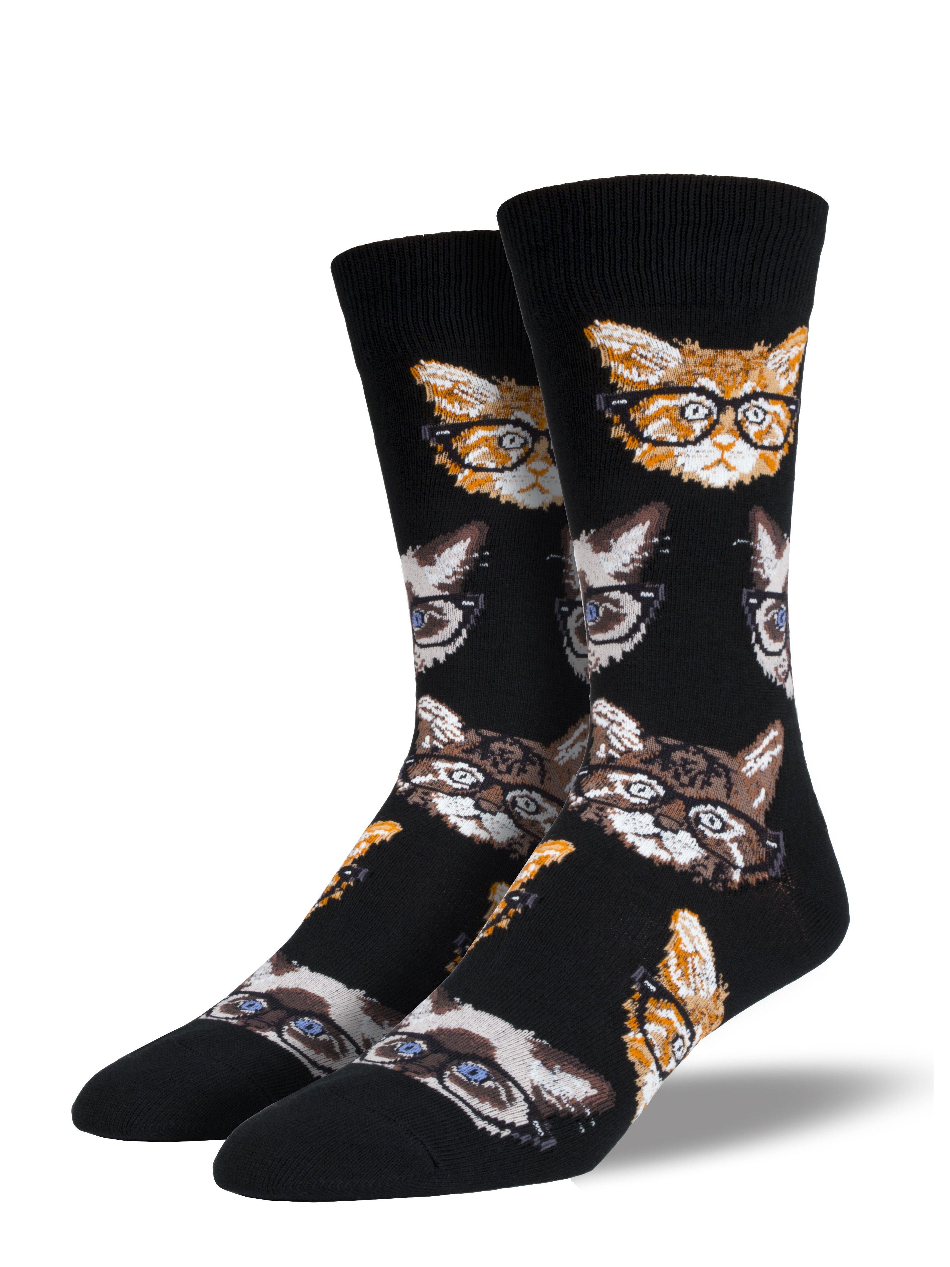Men's Kittenster Cat wearing glasses, Crew socks, Sock shoes