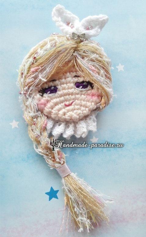 Детская брошка крючком - куколка амигуруми | Pinterest