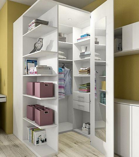 Eck-Kleiderschrank in weiß | lemari | Pinterest | Ikea hack ...