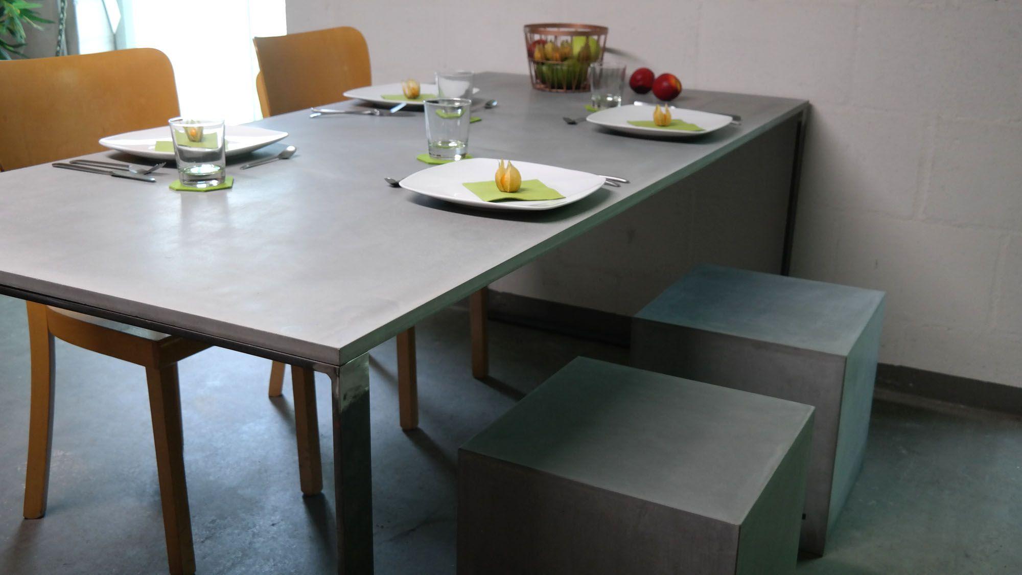 betonplatten esstisch