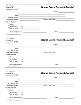 Get A Receipt For A Down Payment On A House With This Template With Payment Options Free To Download And Print House Down Payment Down Payment Receipt