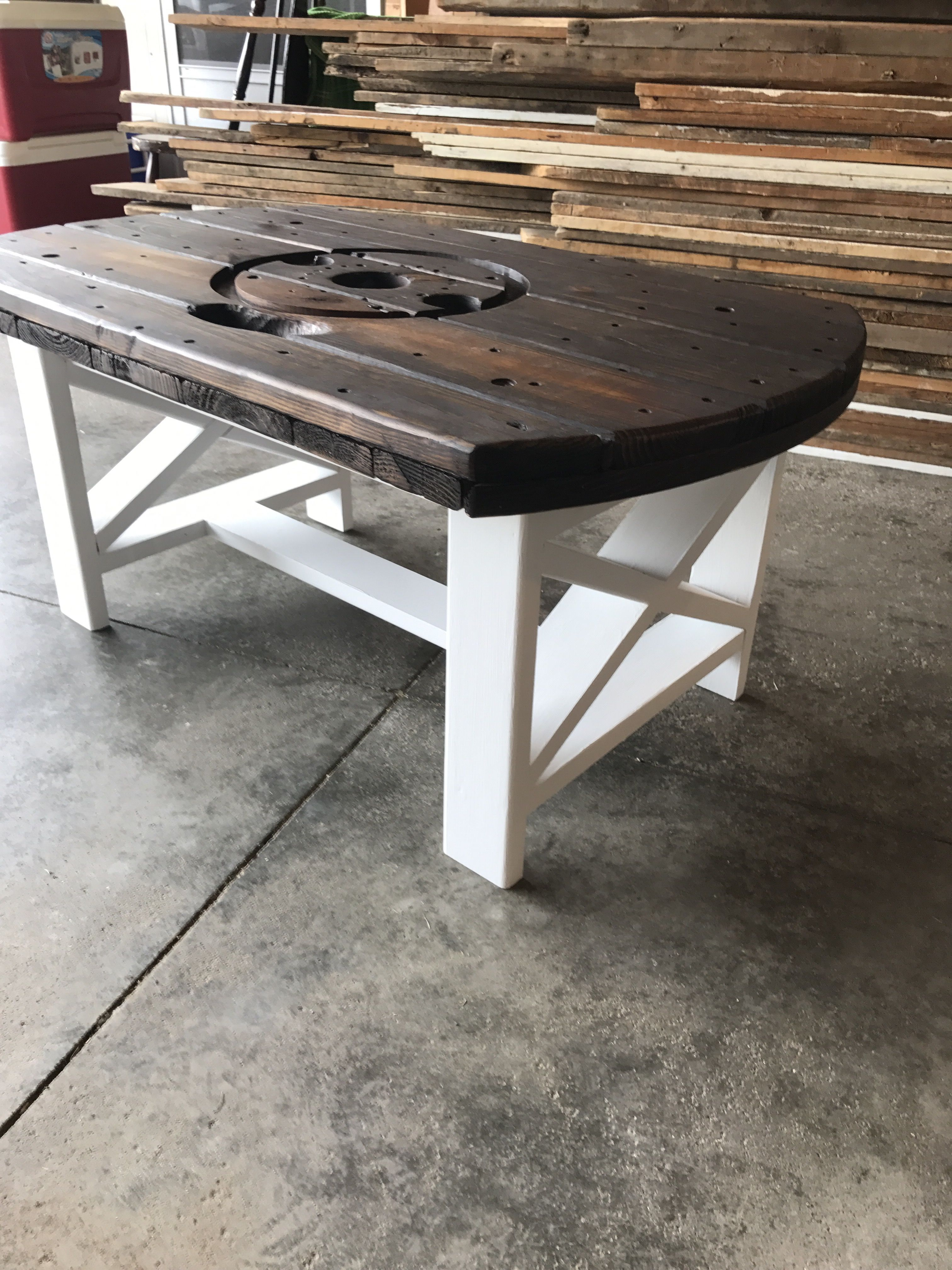 Cable spool coffee table Kona stained top and white chalk painted