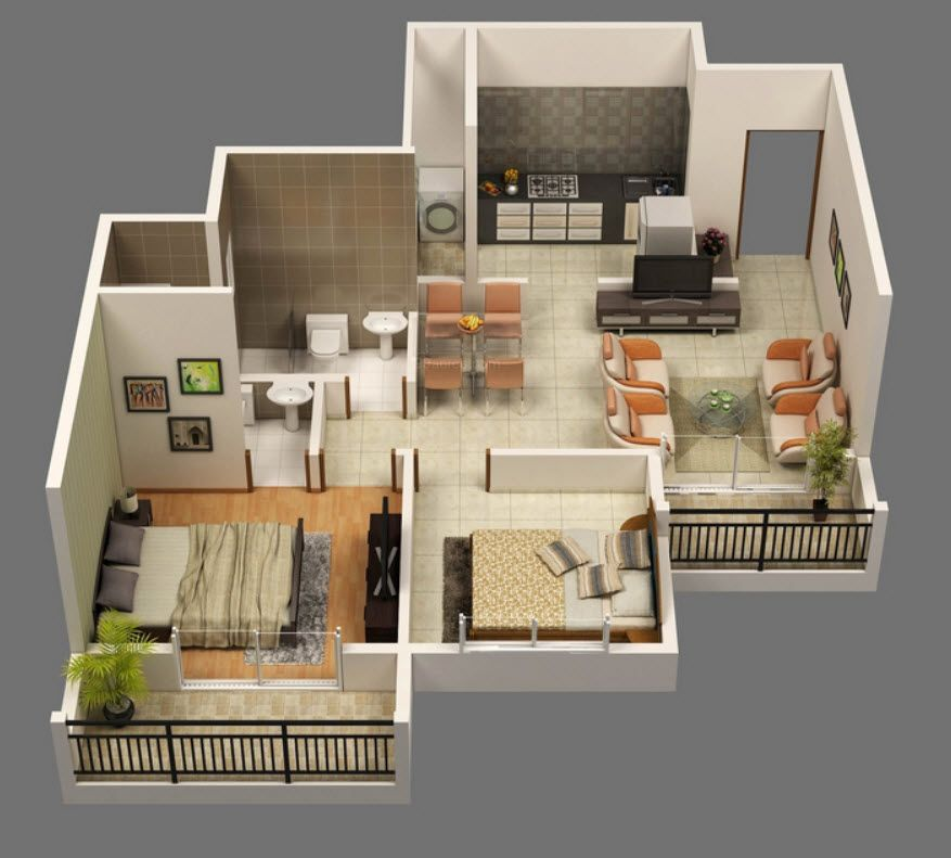 Planos de apartamentos en 3d dise os modernos deptos for Planos apartamentos pequenos
