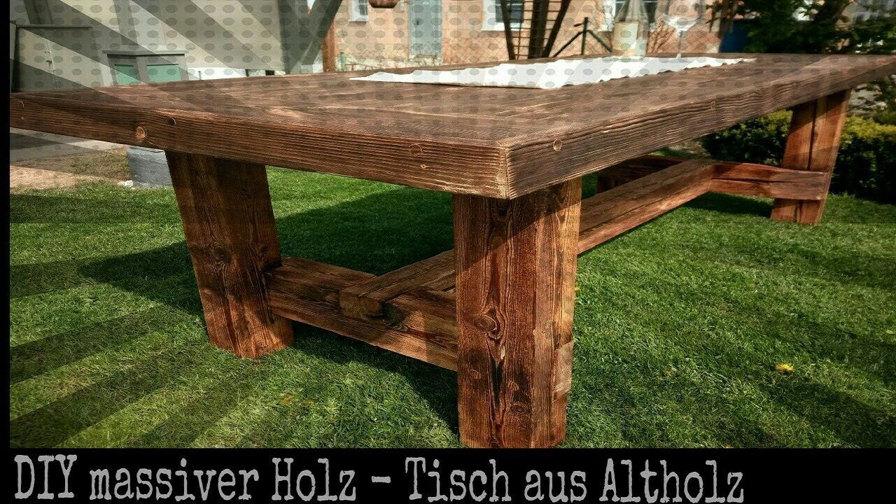 Solider Tisch Aus Altholz Selber Bauen Diy Holz Projekt Holztisch Selber Bauen Altholz Diy Holz