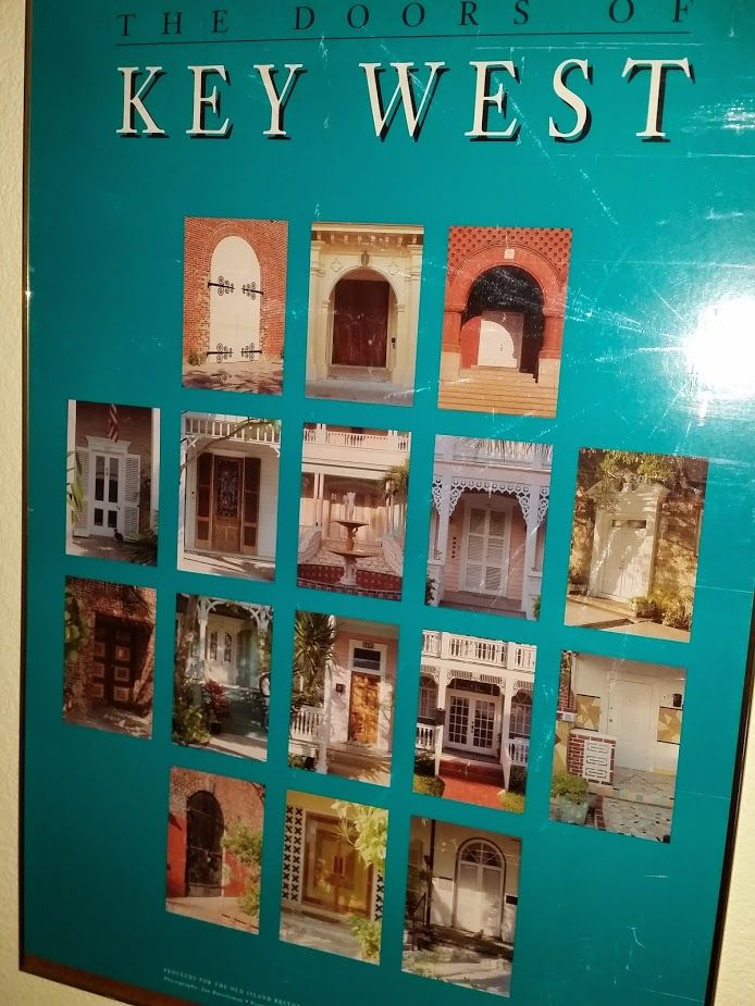 """Old poster of """"The Doors of Key West"""". The (then) owners of the Authors Guest House had it rolled up & stashed away. I loved it so much that they gave it to me!"""