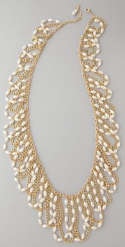long chain necklace with white pearl beads
