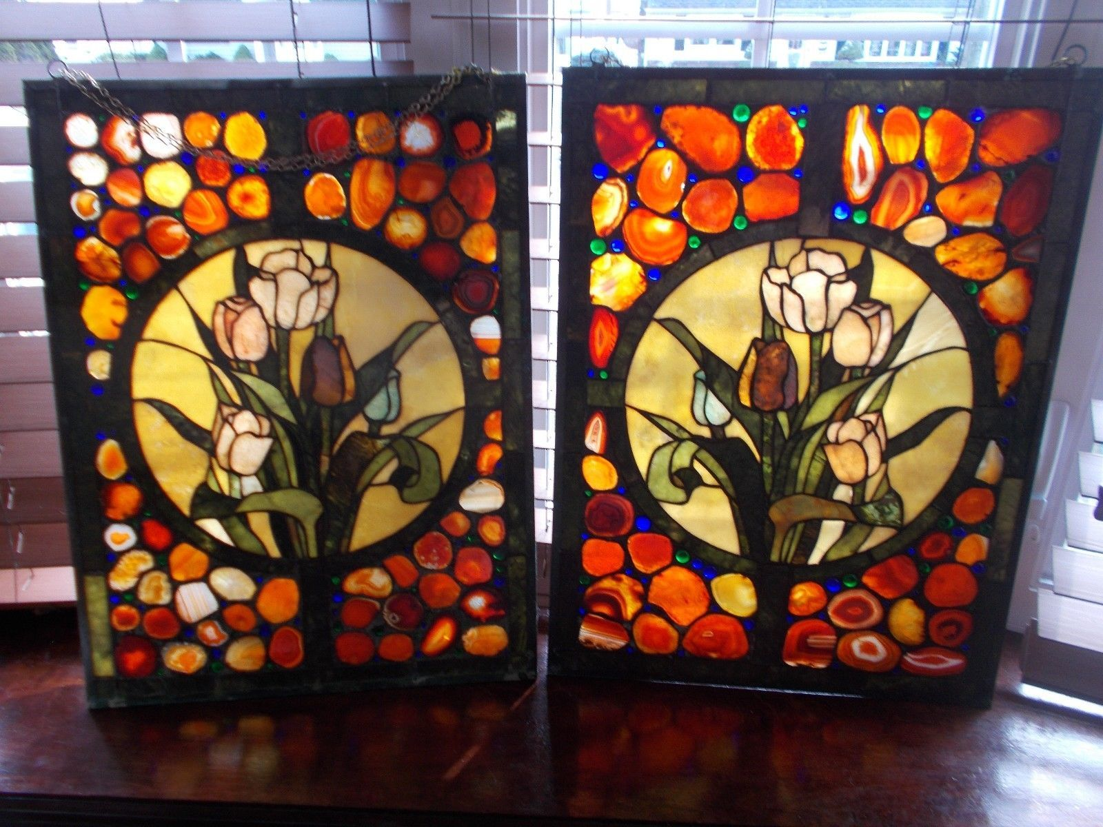 Pair Large Stained Glass Window Hangings Very Colorful Vibrant Stained Glass Flowers Stained Glass Window Hanging Window Hanging
