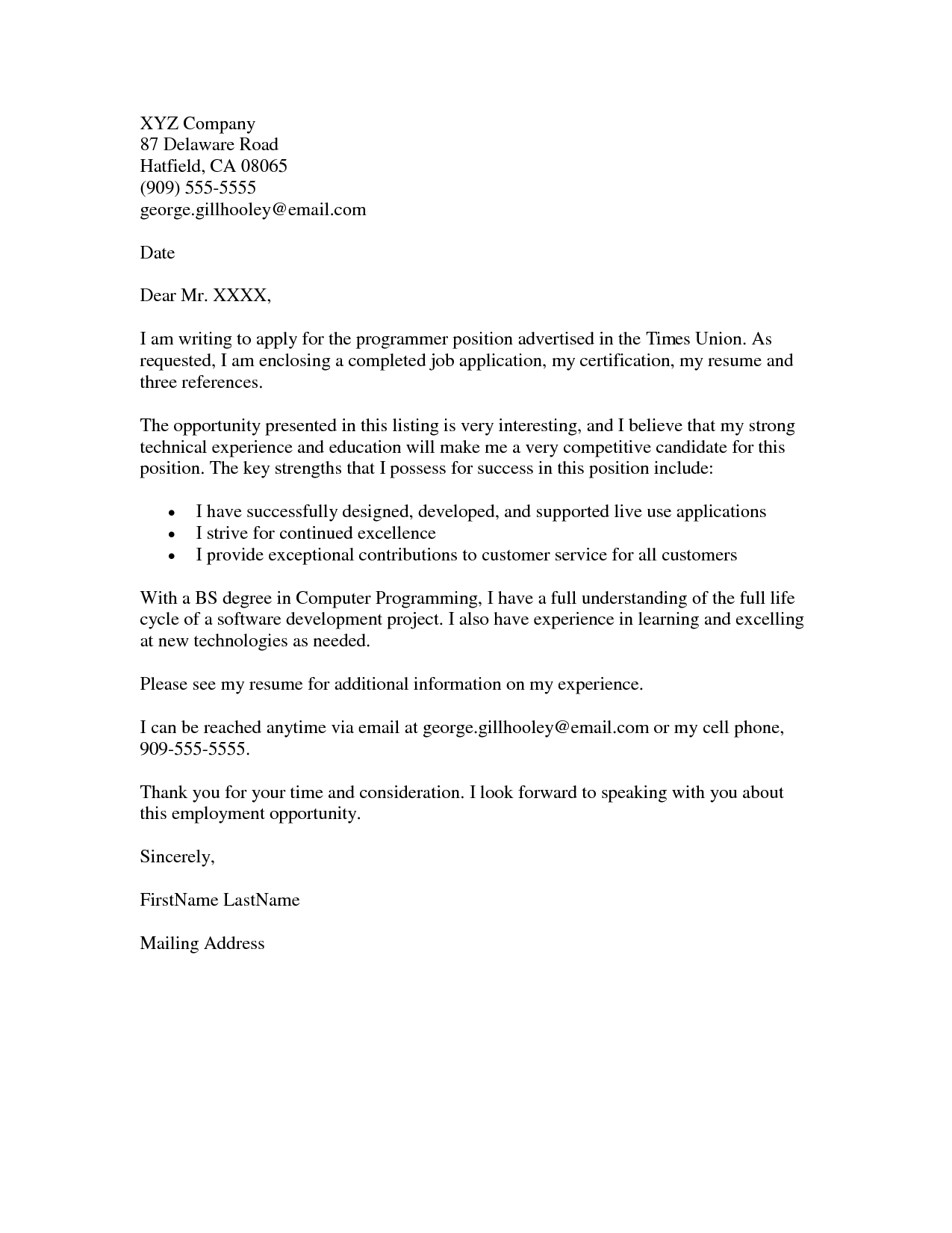 JOB APPLICATION COVER LETTER Example Resumes job