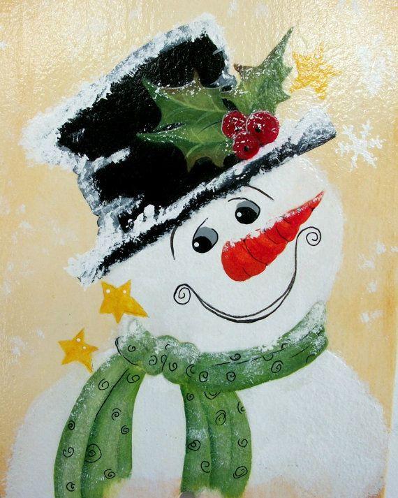 Folk art snowman smiling snowman hand painted by for Folk art craft paint