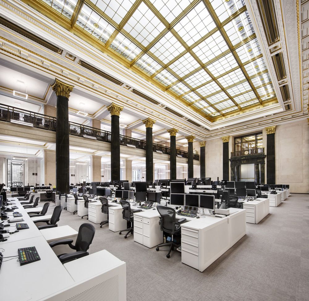 The National Bank Unveils Its New Montreal Trading Floor Architecture49 Hotel Lobby Design Interior Architecture Design Office Space Inspiration