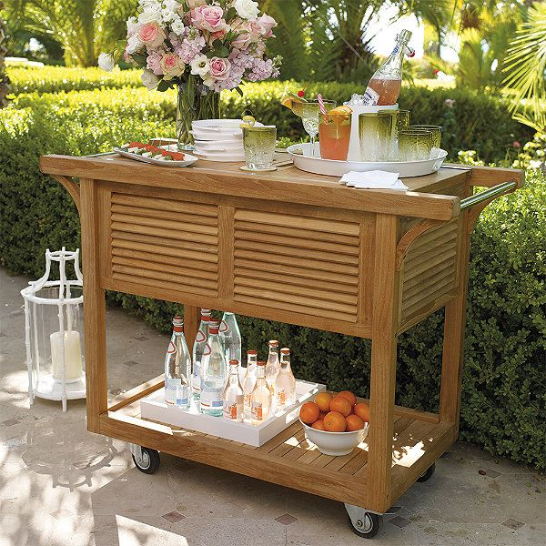 9 Outdoor Patio Kitchens For Party Perfect Entertaining: Teak Bar Cart With Beverage Tub