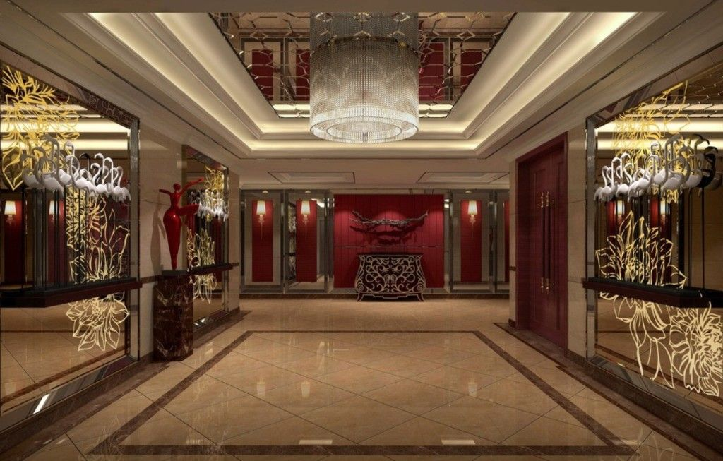 lobby interior design chinese style luxury hotel floor and picture