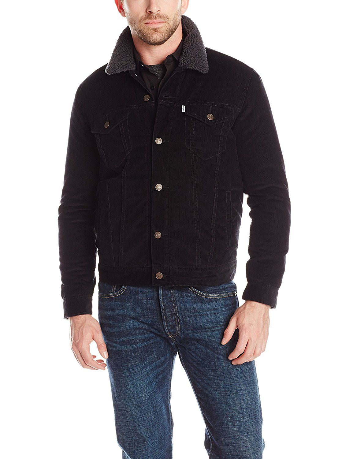 Levi's Men's Sherpa Trucker Jacket, Black Sherpa/Corduroy