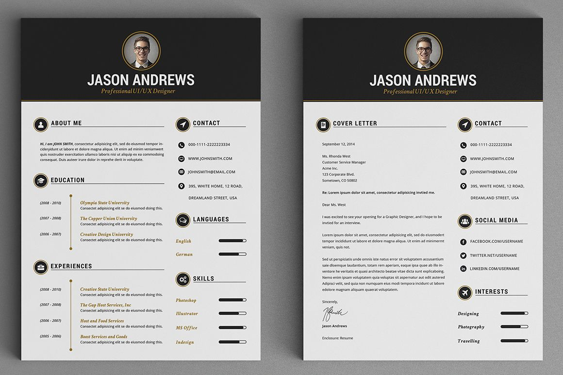 The Elegant ResumeCV Set Template by SNIPESCIENTIST on Creative