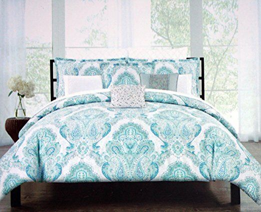 Tahari Bedding 3 Piece Full Queen Duvet Cover Set Floral