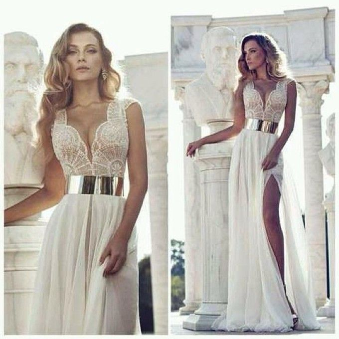 Gold belted white dress