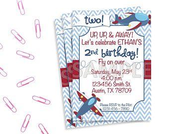 Boys Airplane Birthday Invitation Airplane Party Invitation