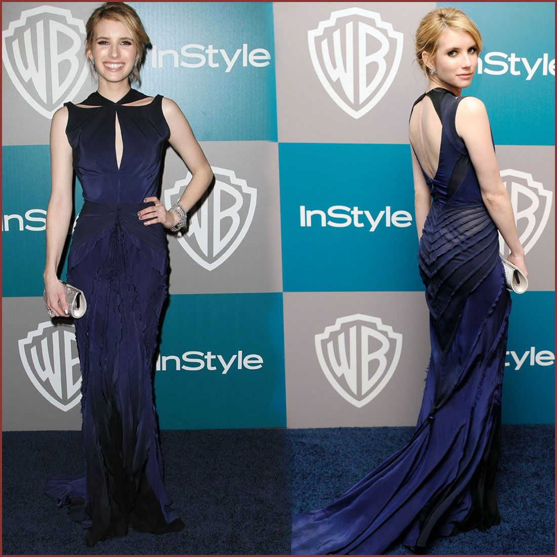 Emma Roberts Long Navy Dress Long Dresses Navy Long Dress Dresses Celebrity Dresses
