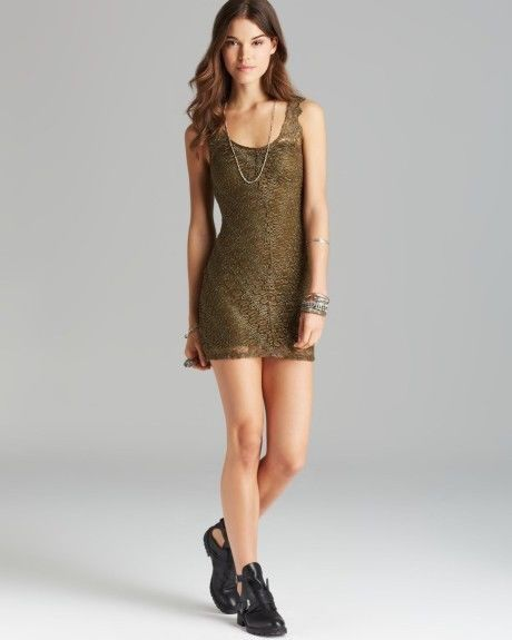5296b2dbe664 NEW Free People Olive Green Lace Mini Dress Bodycon Women's XS ...