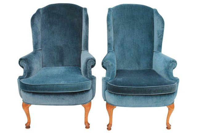 Broyhill Velvet Wingback Chairs, Pair