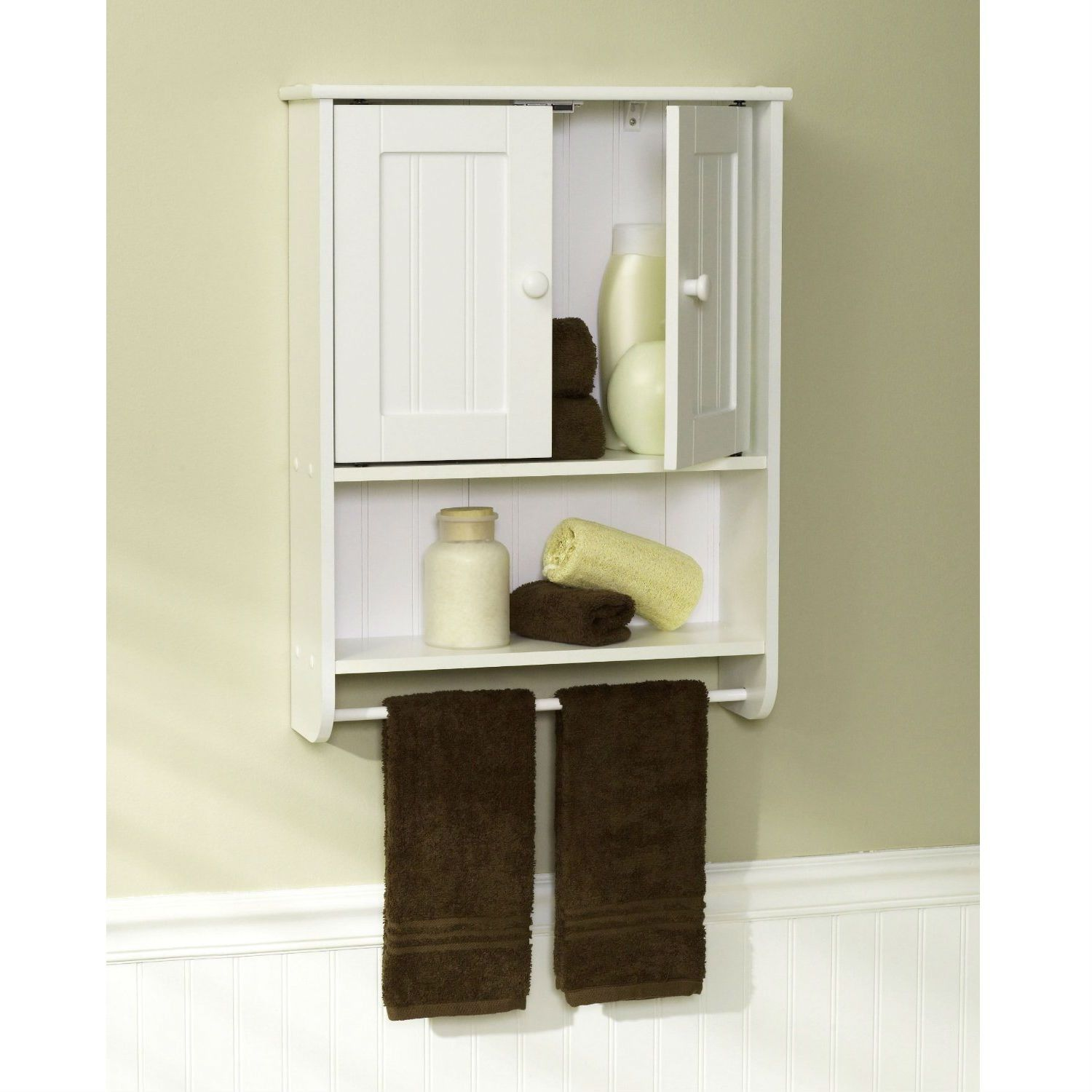 Wall Mount Bathroom Cabinet with Towel Bar in White Finish | Room ...