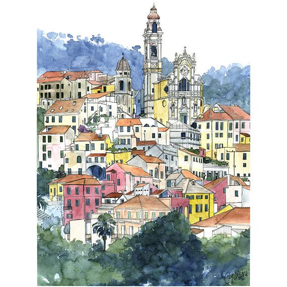 Aquarelle Cervo Peinture Cite De Caractere Illustration Village