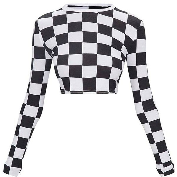 2dae63bc8e5 Monochrome Checkerboard Grid Check Long Sleeve Crop Top (408.760 VND) ❤  liked on Polyvore