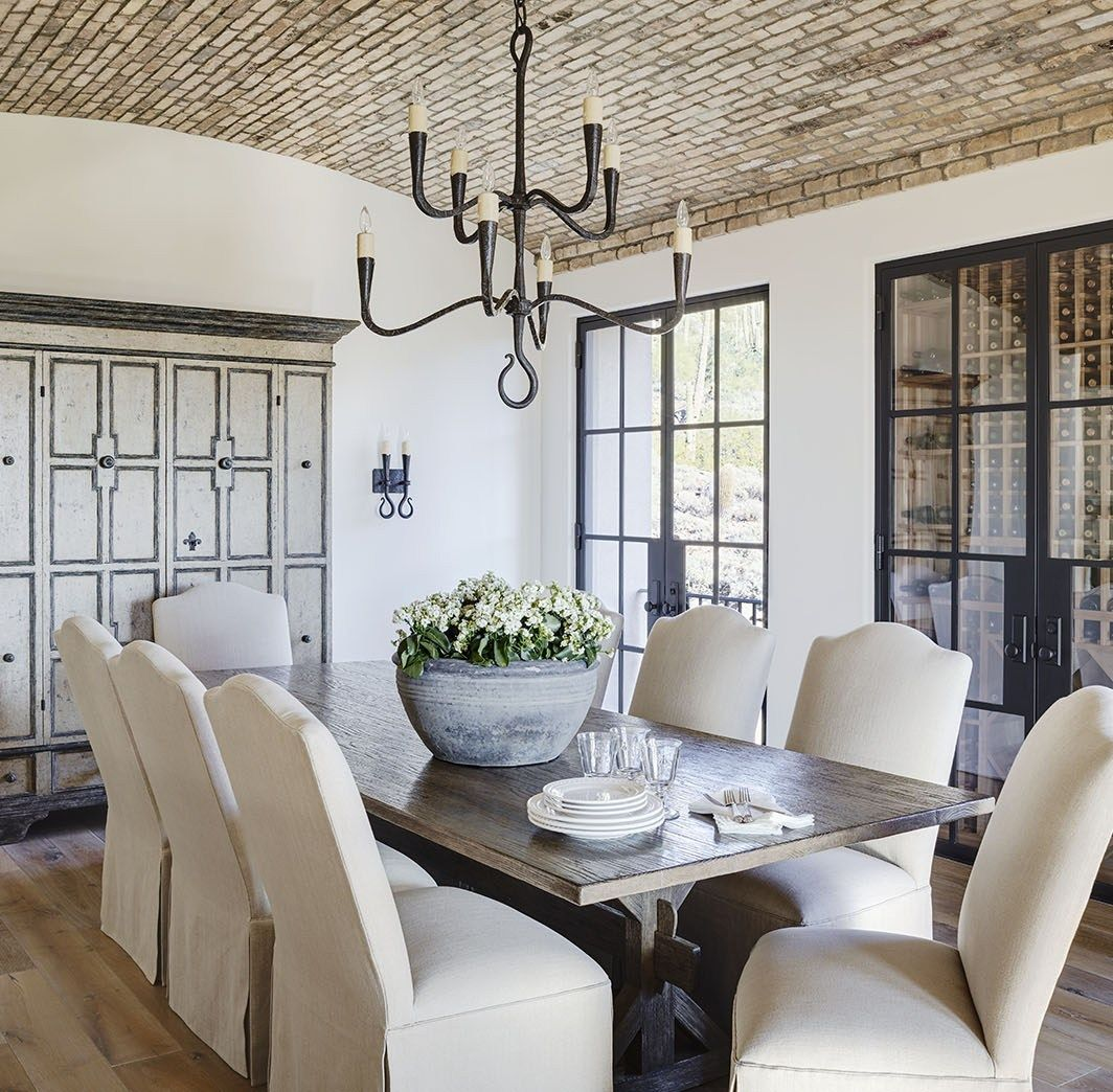 12 Rustic Dining Room Ideas: Rustic Farmhouse Dining Room With Built In Wine Storage