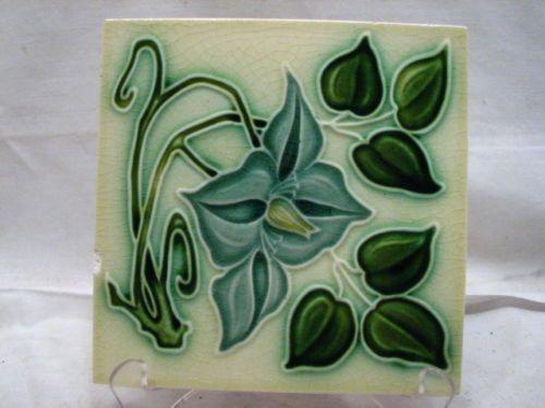 Early Majolica Glazed Ceramic Tile Art Nouveau Blue Lily Flower Garden Floral B…