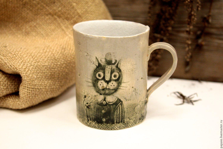 Купить Кружка керамическая с Котом - кружка в подарок, керамика ручной работы, глина, глиняная посуда