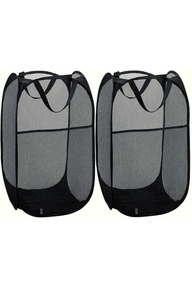 Mesh Popup Laundry Hamper Portable Durable Handles Collapsible