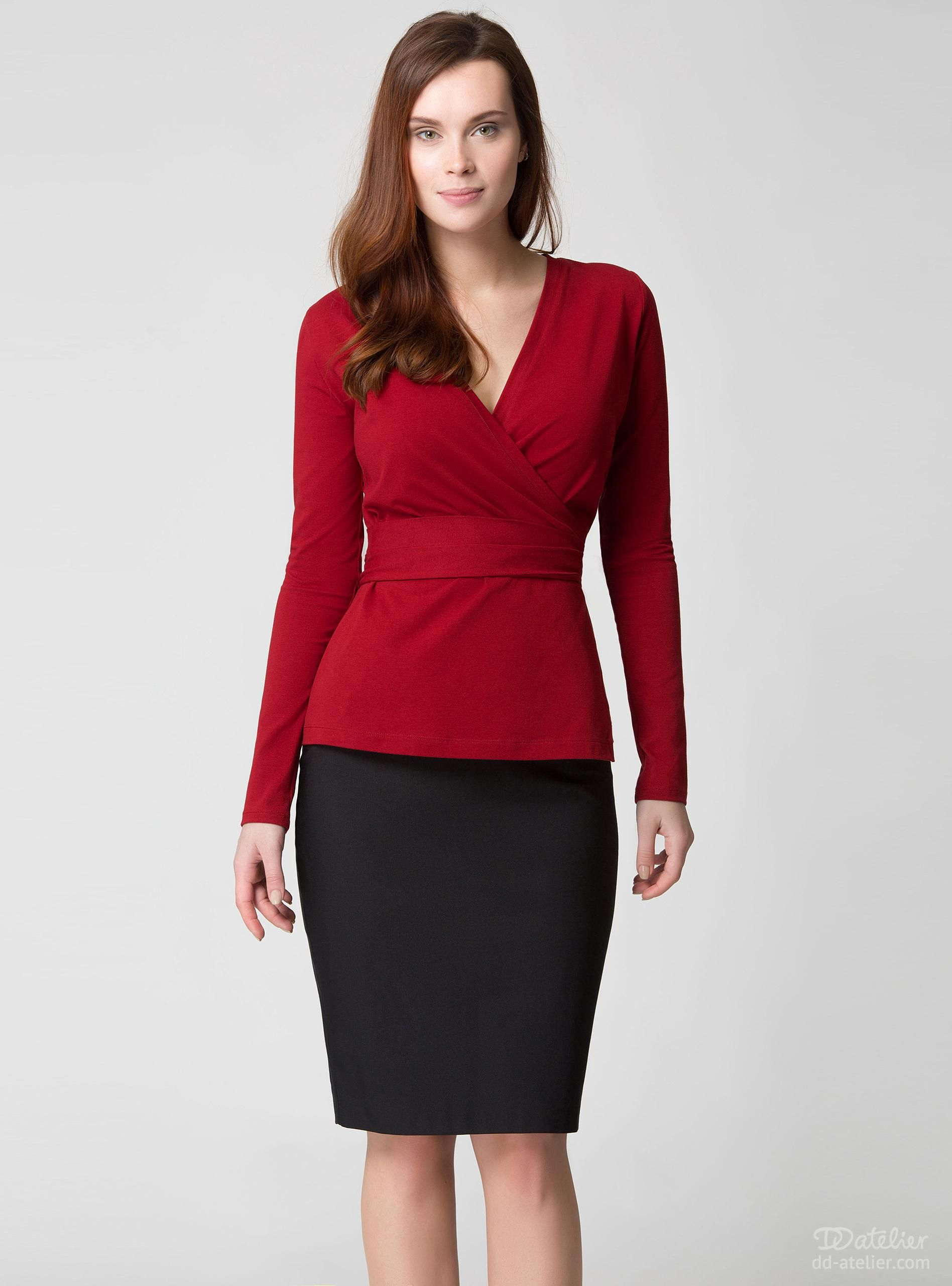 Wrap Sweater 3-032, burgundy, for a big bust | My Style ...