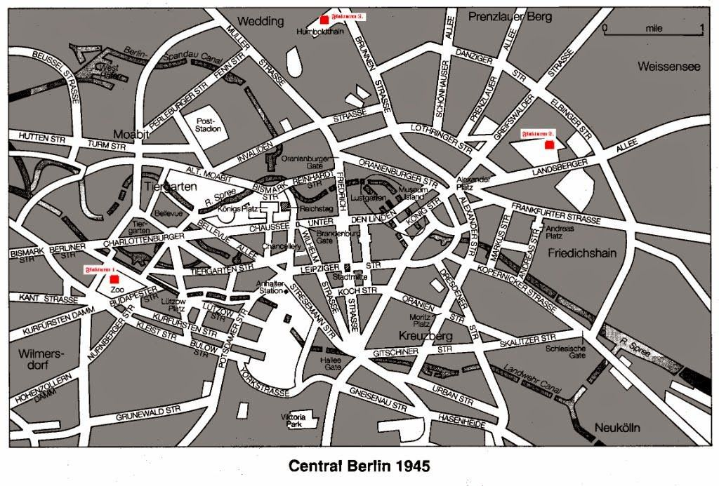 Central Berlin In 1945 With The Anti Aircraft Flak Towers Marked