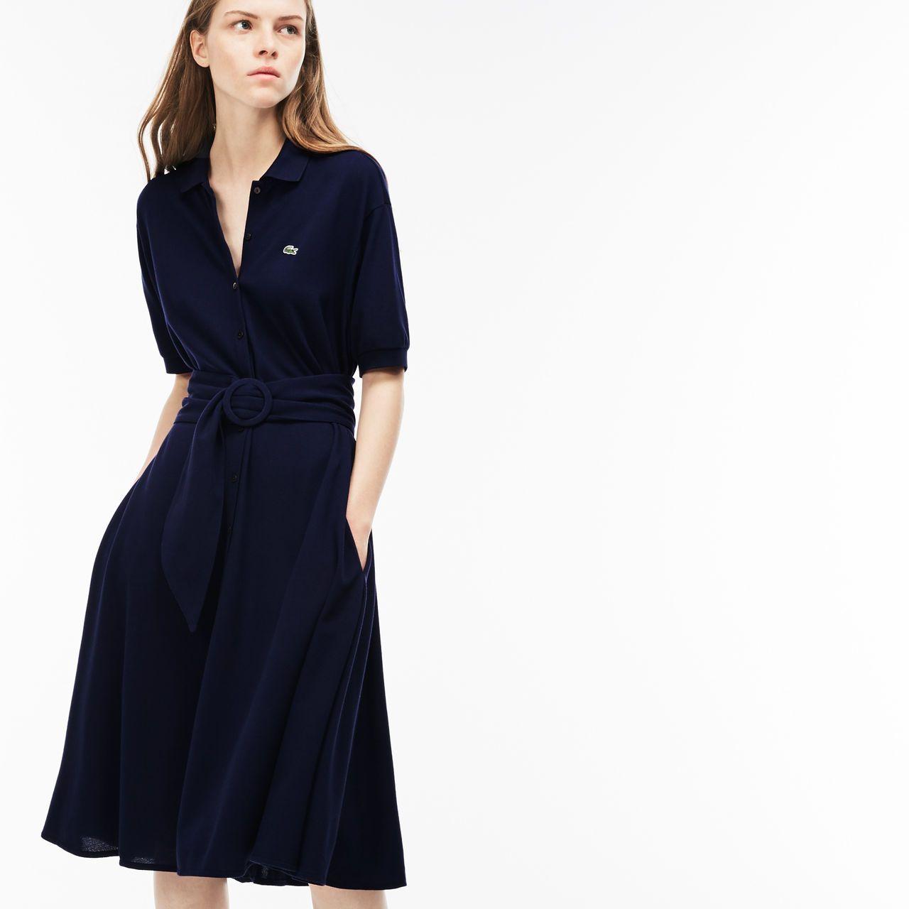 5e852d01ad6f5 Women s Belted Buttoned Soft Petit Piqué Polo Dress   LACOSTE ...