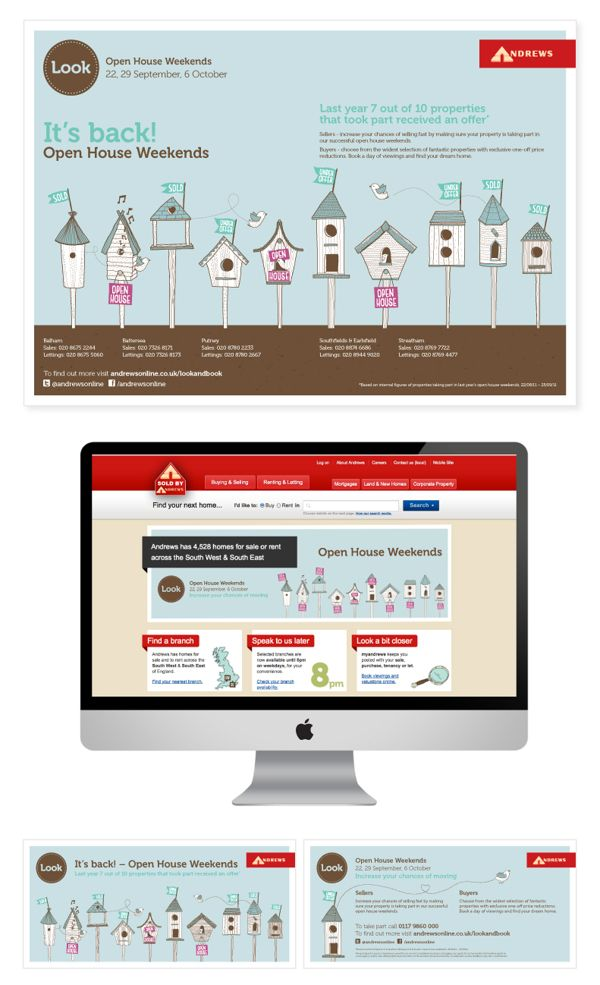 Andrews Estate Agents Open House Campaign by Nick Kelly, via Behance