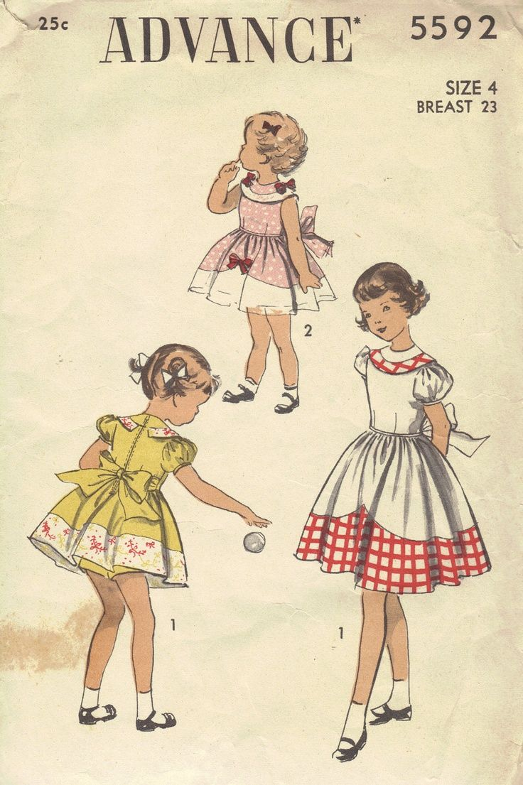 1940s+baby+clothing+sewing+patterns | 1940s Advance Sewing Pattern Girls Toddler Full Skirt Dress Short Sle ...
