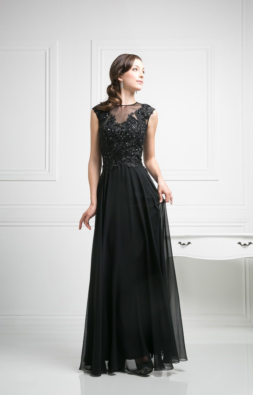 Black mother of the bride formal dress plus size beaded dresses