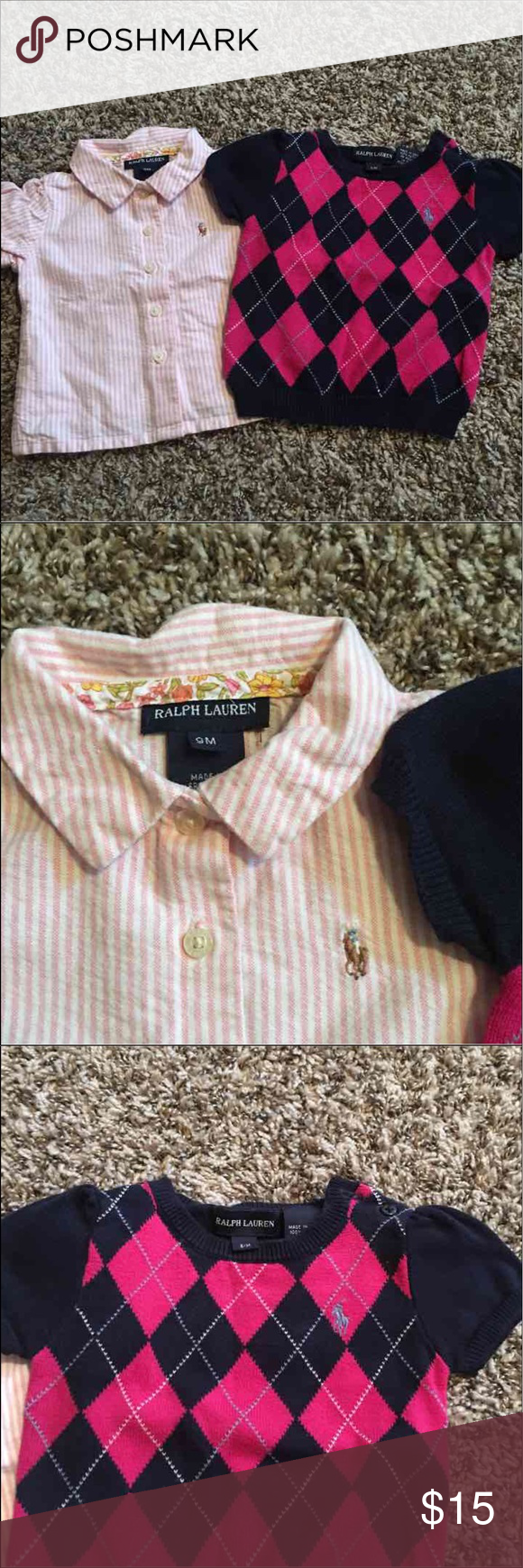 Baby Girl Polo Short Sleeve (2) Two super cute Ralph Lauren, 9 month old shirts. One is a pink, pinstriped collared shirt, and the other is more of a sweater material. Polo by Ralph Lauren Other