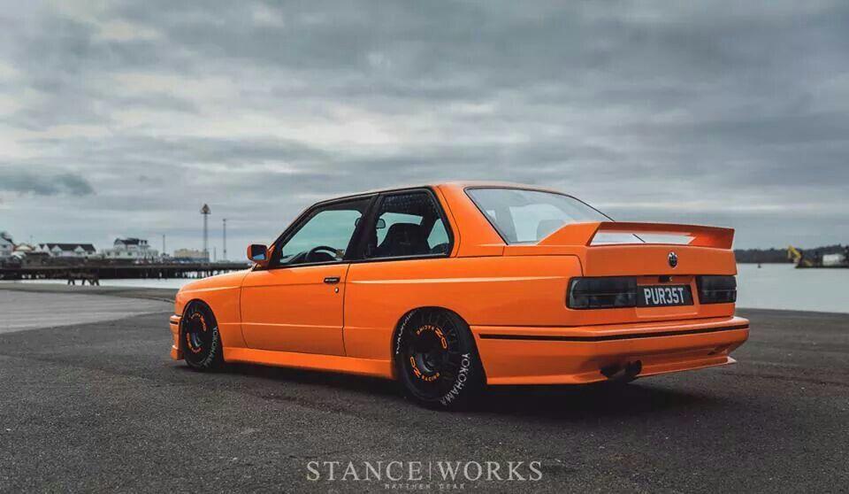 BMW E30 M3 orange slammed Stanceworks | Bmw e30, Bmw e30 ...