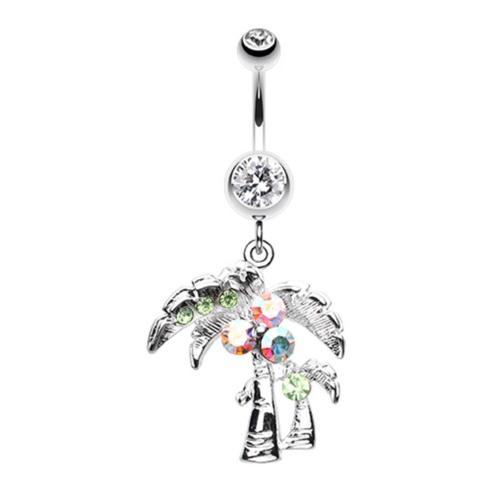 Long belly piercing  Summer Palmtree Belly Button Ring  Belly button rings  Pinterest