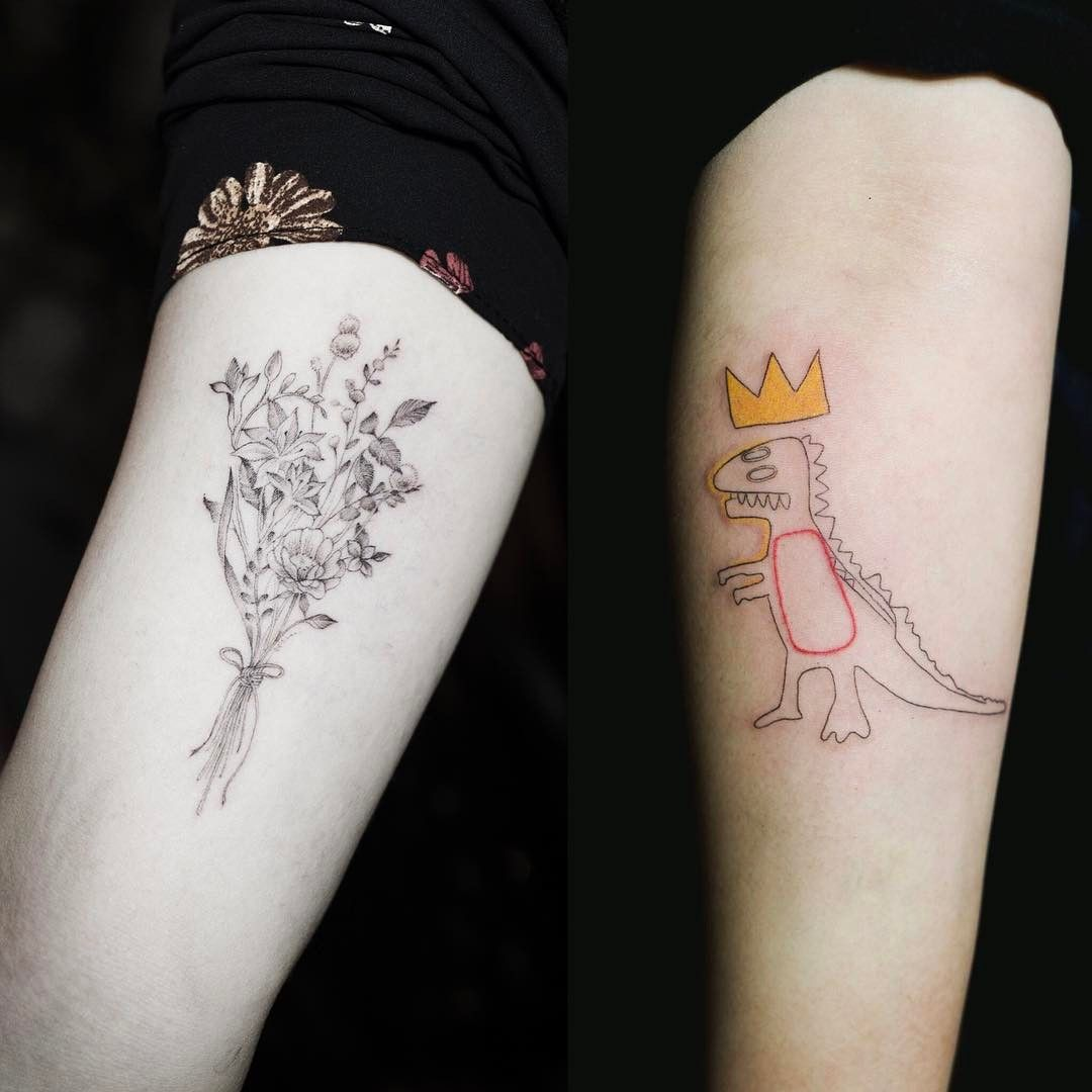 a3a5adced A bouquet and a dinosaur | Studio by Sol @soltattoo on Instagram ...