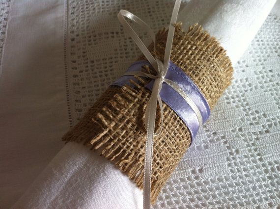 Beautiful lilac and cream wedding napkin wraps, 4 wraps with lilac binding and fine cream satin tying ribbon, available in many colours- just ask and I can make them to fit your wedding theme. #etsy #wedding #rustic #naplin #napkinring #baloolahbunting