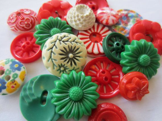 Vintage Buttons  Flower Power