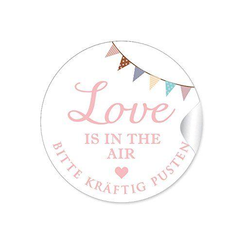 """24 STICKER: """"Love is in the Air - Bitte kräftig pusten"""" Schöne Etiketten in rosa mit Girlande für Seifenblasen-Verpackungen zur Hochzeit • Papieraufkleber: 4 cm, rund, matt"""