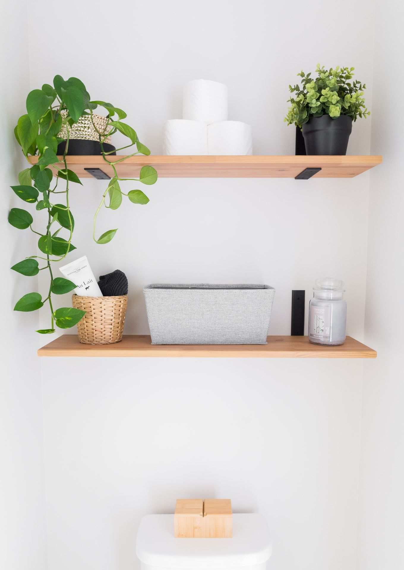 Tiny Monochrome Powder Room With Plants (for Under $100) images